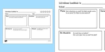Léirmheas Leabhair le - book review writing template, book review, writing, template, writing template, books, review, aid