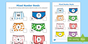 Mixed Number Bonds Activity Sheet to Support Teaching on Aliens Love Underpants - Mixed Number Bonds Activity Sheet to Support Teaching on Aliens Love Underpants - display, number, a