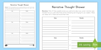 Narrative Thought Shower Writing Worksheet / Activity Sheet - Language, English, Writing Process, Daily Five, Writer's workshop, small moments, personal narrativ