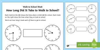 Walk to School Week: How Long Did It Take? Activity Sheet - CfE Walk to School Week 2017 (15th-19th May) JRSO, clock faces, reading the time, first level themed