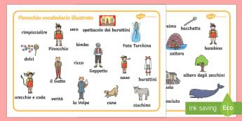 Pinocchio Vocabolario Illustrato - pinocchio, vocabolario, illustrato, favole, tradizionali, fiabe, italiano, italian, scrivere, scritt