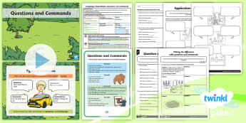 PlanIt Y1 Language Conventions: Identifying and Writing Questions and Commands Lesson Pack - australia, Punctuation, Grammar, activity sheets, lesson plan, PowerPoint, display posters, poster,