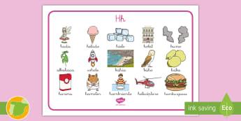 Tapiz de lecto: La letra H - lecto, leer, lectura, sonidos, fonemas, consonantes, formar palabras, Spanish