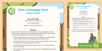 Garden Treasure Hunt Activity Sheet - scavenger, outdoor, holidays, summer, family, parents