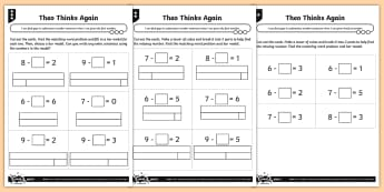 Finding Gaps in Subtraction Sentences Differentiated Activity Sheets - Count back, finding gaps, reasoning, subtraction, number bonds, how many fewer, how many left, solvi