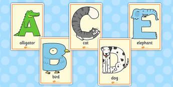 Animal Alphabet Display Posters With Words - animal, alphabet, display, poster