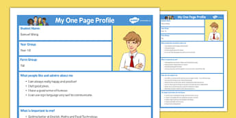 My One Page Profile Secondary - my, one page, profile, secondary