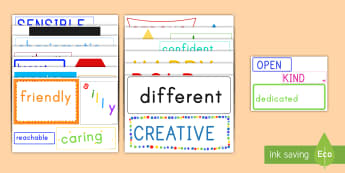 Inspirational Adjective Words Display Posters - inspirational, words, posters, cut outs, display, adjectives, positive