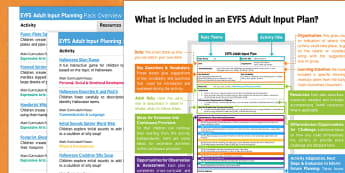 EYFS Halloween Adult Input Planning and Resource Pack Overview