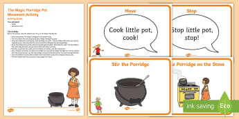 The Magic Porridge Pot Movement Activity Resource Pack - The Magic Porridge Pot, traditional tales, story, fiction, physical development, PD, EYFS, movement,