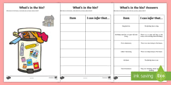 Whats In The Rubbish Making Inferences Activity - SEN, Inference