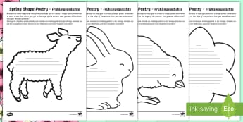 Spring Shape Poetry Differentiated Activity Sheets English/German - EAL, German, shape poetry, year 2 poetry, year 2, poetry, spring, spring animals, spring activities,