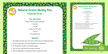 Natural Green Mushy Pea Playdough Recipe - Jack and the Beanstalk, Jaspers Beanstalk, Princess and the Pea, bean