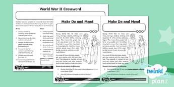 History: World War II UKS2 Home Learning Tasks
