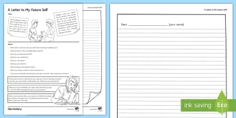 A Letter to My Future Self Activity Sheet - all about me, future self, letter, transition, form time, pastoral, worksheet
