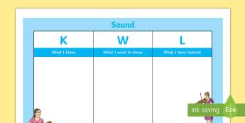 Sound KWL Grid - KWL grid, sound, science, forces, sound waves, hearing, senses, assessment, topic,