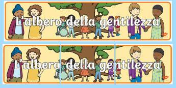 L'albero della gentilezza Striscione - esibizione, decorazione, decorare, italiano, italian, materiale, scolastico