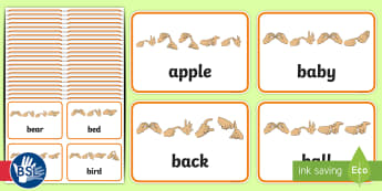 Sight Noun Words with Fingerspelling Flashcards - Dolch List, high frequency words, British sign language, manual alphabet, developing reading, wideni