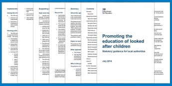 Promoting the education of looked-after children DfE Guidance - LAC, children in care, social care, educating children in care, educating looked-after children, saf
