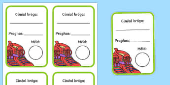 Shoe Shop Role Play Shoe Box Labels Gaeilge - irish, gaeilge, Shoe shop, shoes, role play, shop, trainers, display, poster, shoe box, labels, measuring chart, word cards