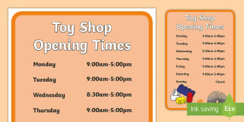 Toy Shop Opening Times - Toy shop Role Play, toy shop, toy shop resources, toys, till, money, customer, dolls, lego, ben 10, role play, display, poster
