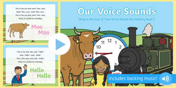 Our Voice Sounds Song PowerPoint - EYFS, Phase 1, Aspect 6, letters and sounds, phonics, speech development, speech and language