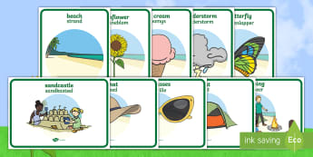 Summer Display Posters English/Afrikaans - seasons, weather, warm, temperature, vocabulary, seisoene, EAL