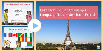 KS2 European Day of Languages Speaking French PowerPoint - France, greeting, basic conversation, phrases, bonjour,Scottish, taster session, warm up