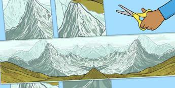 Frise de panneau d'affichage : Les montagnes -  géographie, paysage, lieux de vie, relief, chaîne, encadrer, encadrement, bordure, bandes