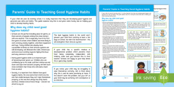 Teaching Good Hygiene Habits Parent and Carer Information Sheet - washing, toileting, early years, starting school, illness, germs