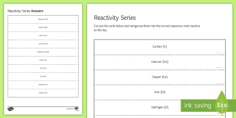 Reactivity Series Sequencing Cards - Sequencing Cards, gcse, chemistry, reactivity, reactivity series, metal, metals