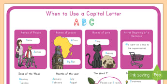 When to Use a Capital Letter Display Poster - capital letter, poster, rules, English, spelling