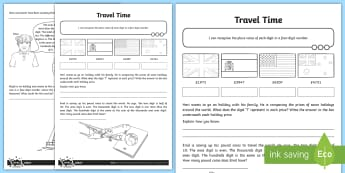 Place Value Four-Digit Numbers Travel Time Activity Sheet - number value, digit value, recognising, 4 digit, thousands, hundreds, tens, ones