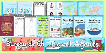 Travel Agents Role Play Pack - Travel agent, role play pack, role play, holiday, travel, role play, display poster, poster, sign, holidays, agent, booking, plane, flight, hotel
