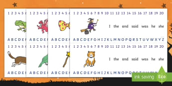 Witch and Animals Combined Number and Alphabet Strips - room on the broom, alphabet, number, alphabet strips, number strips, a-z, a-z strips, number line