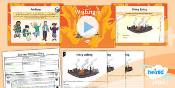 Time Travel: The Great Fire of London: Personal Writing 3 Y1 Lesson Pack - Samuel Pepys, Samuel Peeps, 1666, Pudding Lane, Charles II, diary writing, diary