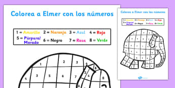 Colorea a Elmer con los números Sheet Spanish - spanish, Elmer, Elmer the elephant, resources, colour by numbers, counting, numbers, Elmer story, patchwork elephant, PSHE, PSE, David McKee, colours, patterns, story, story book, story book resources