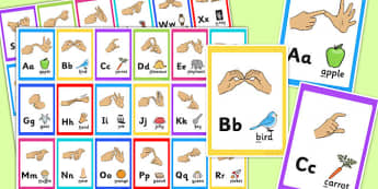 British Sign Language Alphabet Image Flash Cards - flash cards
