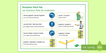 Directions Word Mat French - les directions, directions, town, en ville, places in town,French