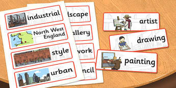 LS Lowry Word Cards - LS Lowry, Lowry, word cards, topic cards, themed word cards, themed topic cards, key words, key word cards, keyword, writing aid
