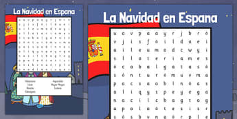 Christmas in Spain Word Search - spanish, la navidad, espana, christmas, word search