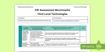 CfE Third Level Technologies Assessment Benchmarks Assessment Tracker - CfE Benchmarks, tracking, assessing, progression, technologies,Scottish