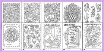Mindfulness Colouring Sheets Bumper Pack - mindfulness, colouring