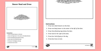 Canadian Beaver Read and Draw Activity Sheet - Uniquely Canadian, beaver, Canada, language, communication, art, drawing, follow directions, reading