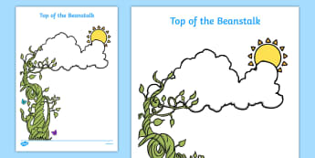 Top of the Beanstalk Writing Sheet - EYFS, Early Years, writing frame, plants and growth, Jack and the Beanstalk, Mick Inkpen, Nick Butterworth, Jasper's Beanstalk