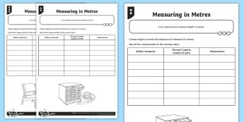 Measuring in Metres Differentiated Worksheet / Activity Sheets - Measuring, measurement, metres, metre stick, tape measure, trundle wheel.