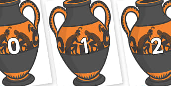 Numbers 0-31 on Amphora - 0-31, foundation stage numeracy, Number recognition, Number flashcards, counting, number frieze, Display numbers, number posters