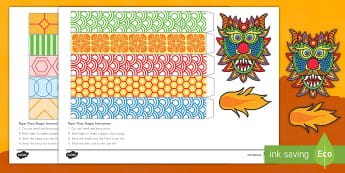 Chinese New Year Dragon Chain Paper Craft - Chinese New Year, paper, craft, dragon, china, celebrations, around the world, art, social studies