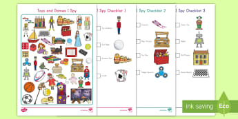 Toy Themed 'I Spy' Activity - Observation Skills, Center Activity, Toys and Games Unit, Letter Sound, Individual Center