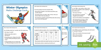 UKS2 Winter Olympics Maths Challenge Cards - Y5, Y6, Skiing, Skating, Snowboarding, Fluency, Reasoning, Calculation